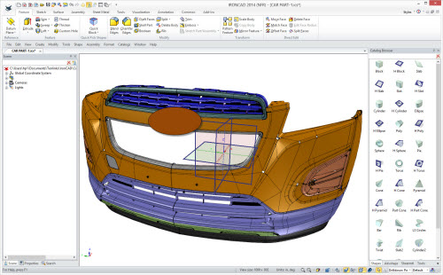 Figure 4: 300MB automotive component opened in IronCAD