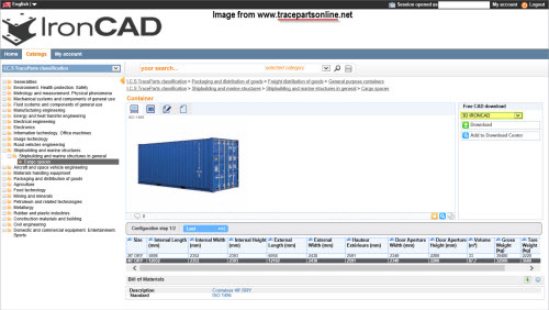 Figure 5: The TraceParts for IronCAD content center