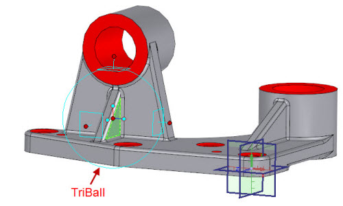 Figure 8: TriBall directly editing parts on a model
