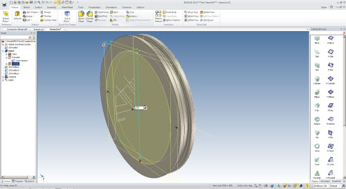 Figure 12: Creation of extrude (with removed material) using a cylinder inserted from the Catalog Browser