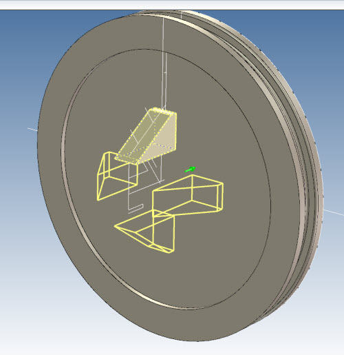 Figure 13: Creation of extrude (with removed material) using a cylinder inserted from the Catalog Browser