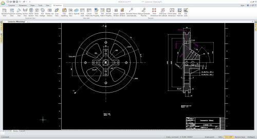 Figure 1: The 2D DWG drawing file opened in IronCAD