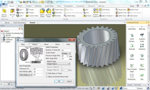 Figure 6: IntelliShape gear with editable parameters