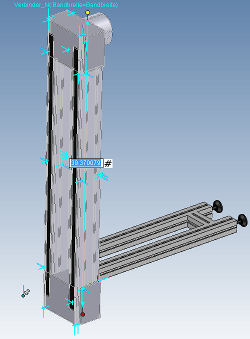 4: Rail with stand attached: dynamically edit the rail length or type in a value