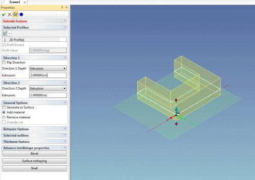 Figure 5: Extrude Feature Properties