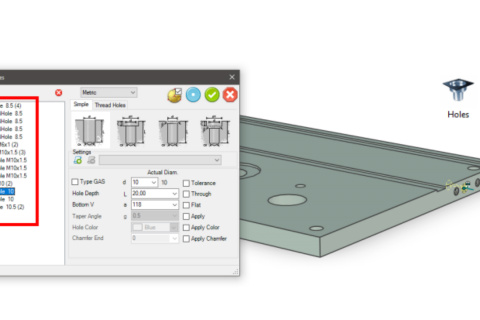 Productivity Tools for Fabricators to Reduce Design Time with IronCAD Mechanical - Holes
